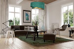 Moderní Elegance 60W E27 závěsná lampa asymetrická, velur, smaragd / zlato small 1