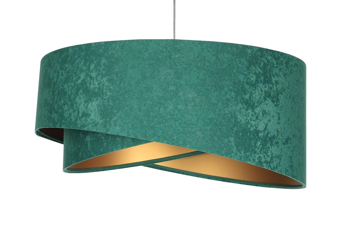 Moderní Elegance 60W E27 závěsná lampa asymetrická, velur, smaragd / zlato