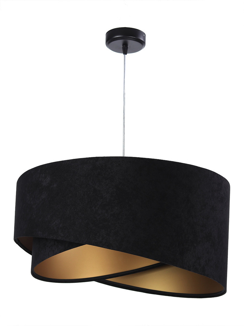 Lampa Elegance 60W E27 asymetrická, velurová, černá / zlatá