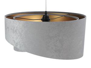 Šedá závěsná lampa Elegance 60W E27 asymetrický zlatý velur small 3