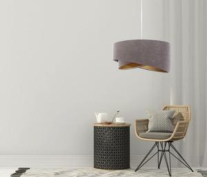 Šedá závěsná lampa Elegance 60W E27 asymetrický zlatý velur small 5