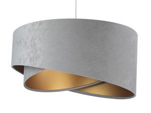 Šedá závěsná lampa Elegance 60W E27 asymetrický zlatý velur small 4