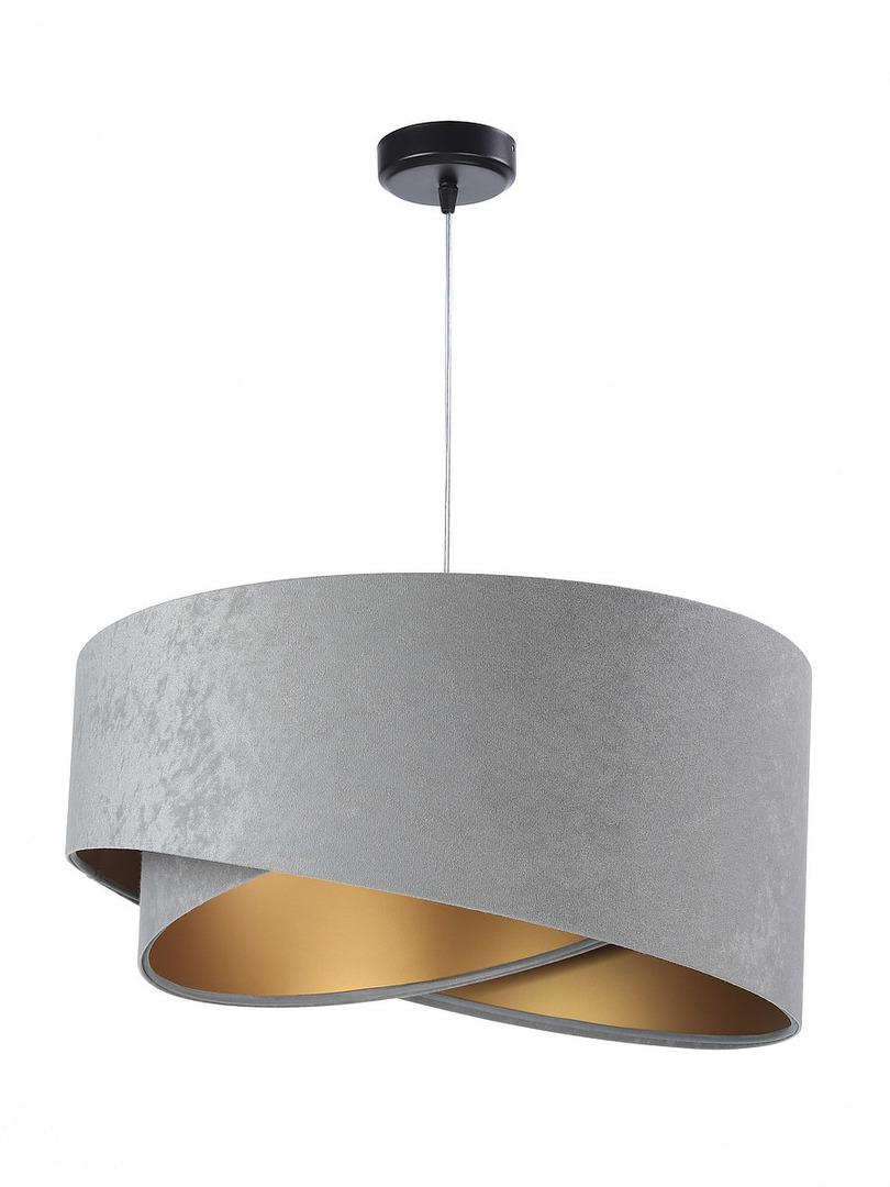 Šedá závěsná lampa Elegance 60W E27 asymetrický zlatý velur
