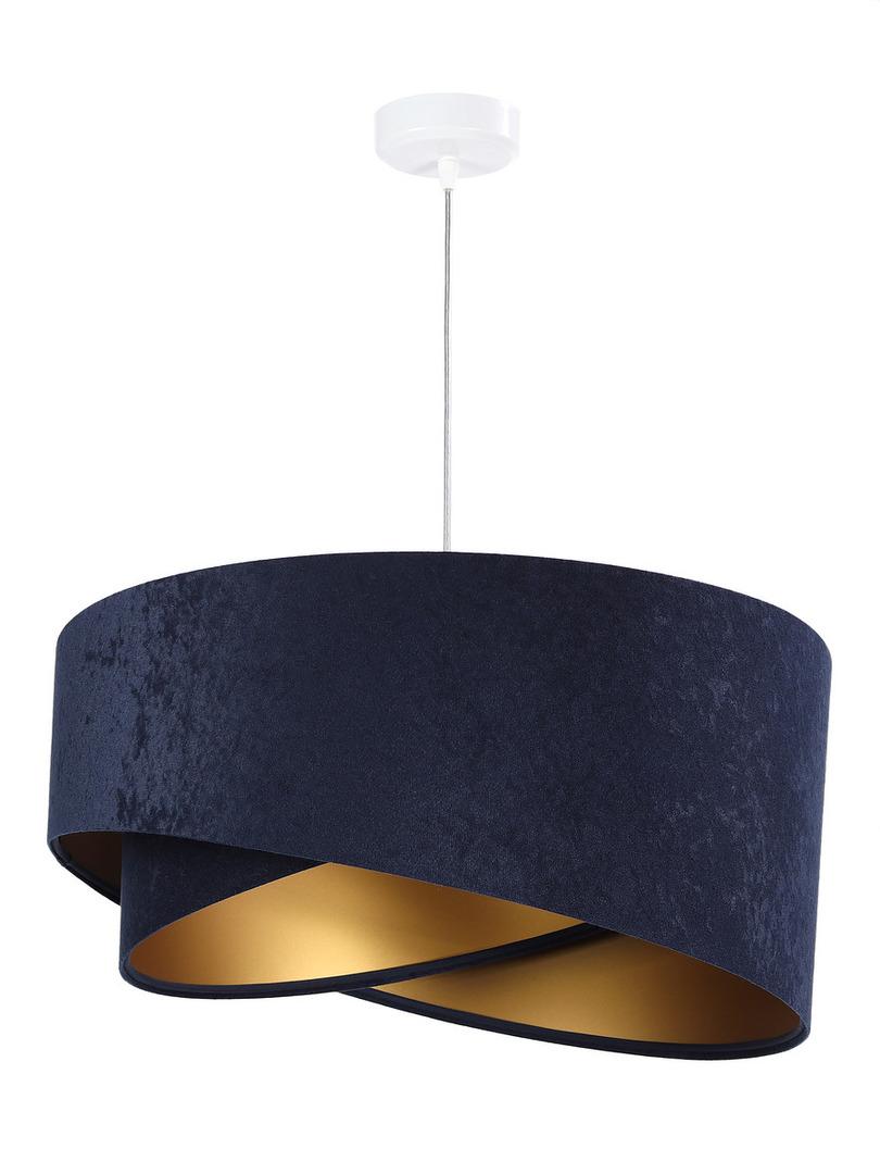 Kulatá závěsná lampa Elegance 60W E27 navy blue / gold, velur
