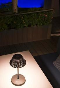 MESH Platek Led - stolní lampa s USB portem - hnědá 3000K small 2