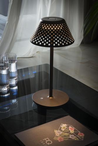 MESH Platek Led - stolní lampa s USB portem - hnědá 4000K