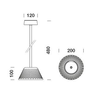 Platek Mesh downlight - venkovní lampa 48cm - 3000K small 6
