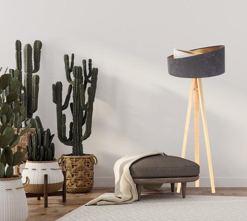 Lampa na stativu Velur 60W E27, šedá / bílá / zlatá