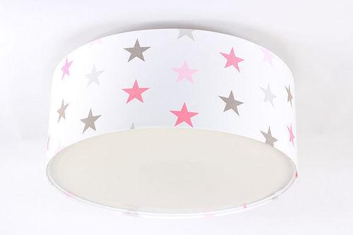 Lampa pro dítě - Plafond Luminance E27 60W LED hvězdy, růžová, šedá