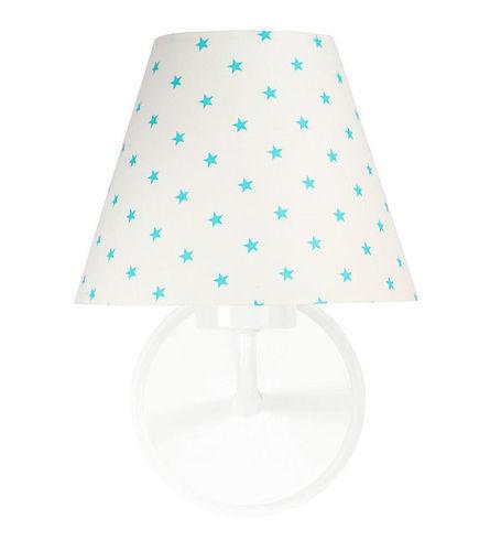Noční lampa, nástěnná lampa pro děti Raggio E27 60W bílé / tyrkysové malé hvězdy