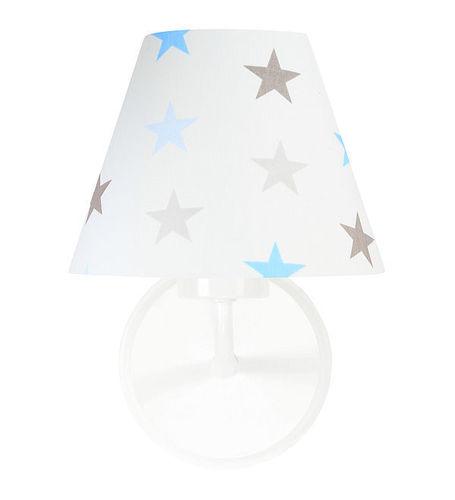 Nástěnná lampa pro chlapce Raggio E27 60W bílé / šedo-modré hvězdy