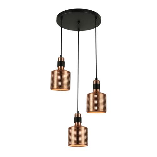 Měděná závěsná lampa Restenza E27 3 žárovky