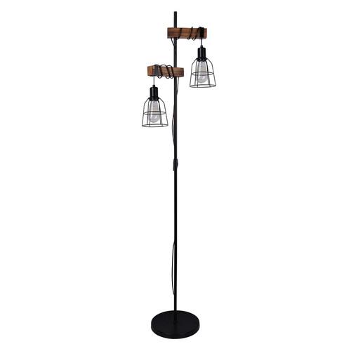 Černá stojací lampa Ponte E27, 2 žárovky