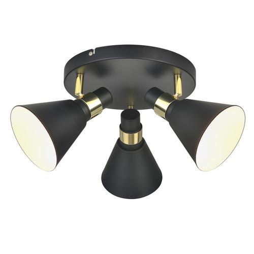Černé 3bodové stropní svítidlo Biagio E14