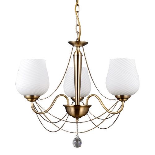Stylizovaný zlatý lustr Metamo E27 se třemi žárovkami