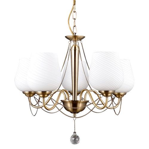 Zlatý stylizovaný lustr Metamo E27 s 5 žárovkami