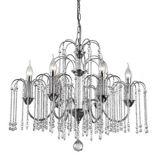 Klasická závěsná lampa se 6 žárovkami Quin Crystals E14