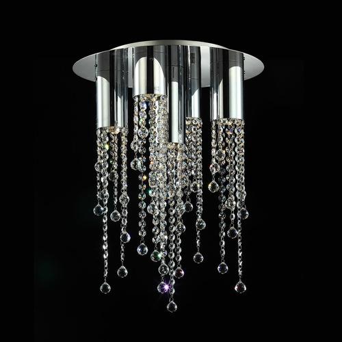 Klasické 5bodové stropní svítidlo Larix GU10 s krystaly