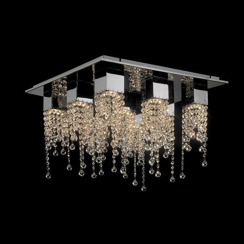 Klasická 9bodová stropní lampa Larix GU10 Crystals