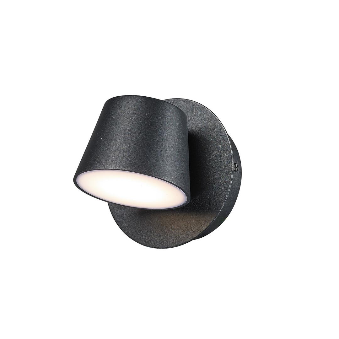 Černé moderní nástěnné svítidlo Kuola