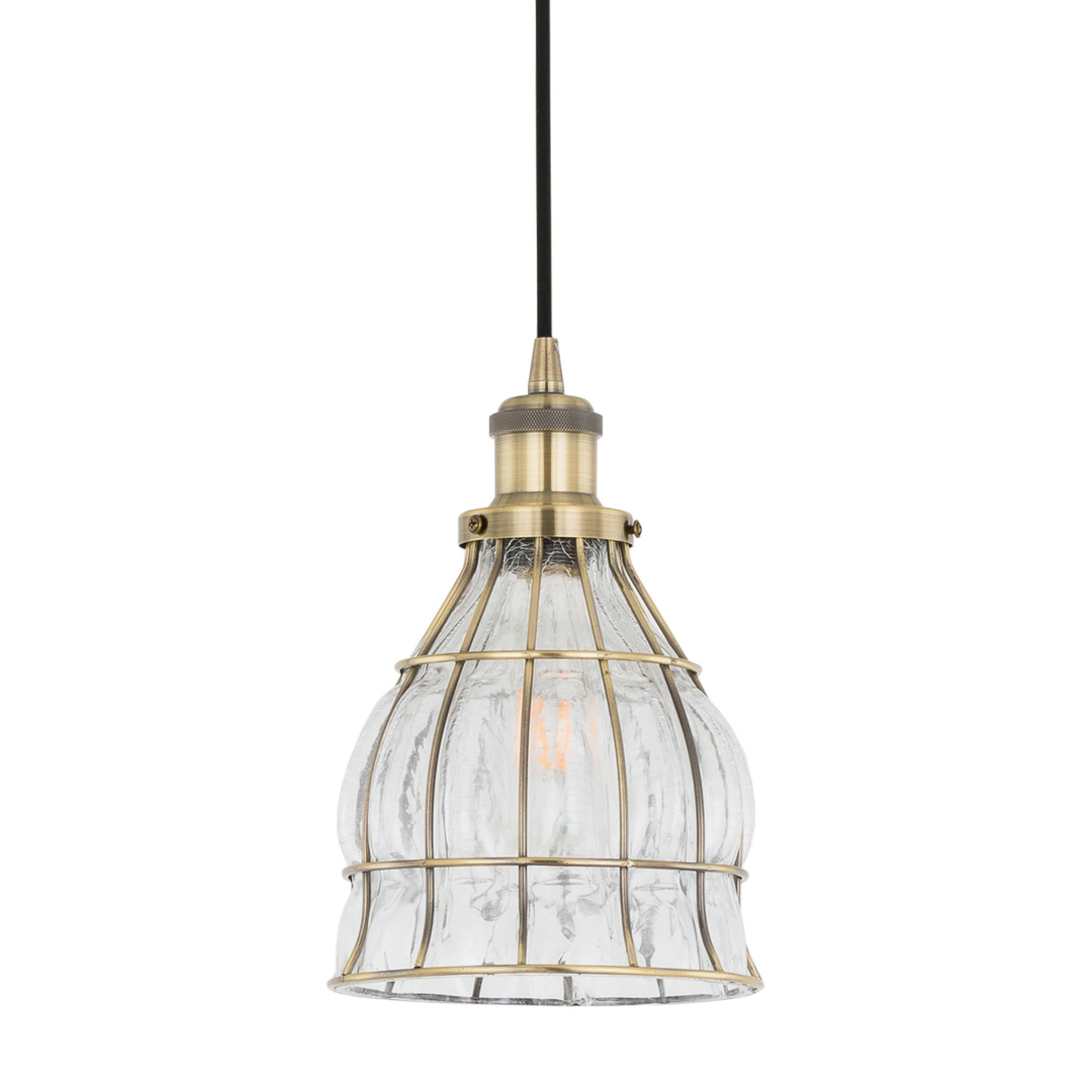 Bronzová závěsná lampa Finter E27