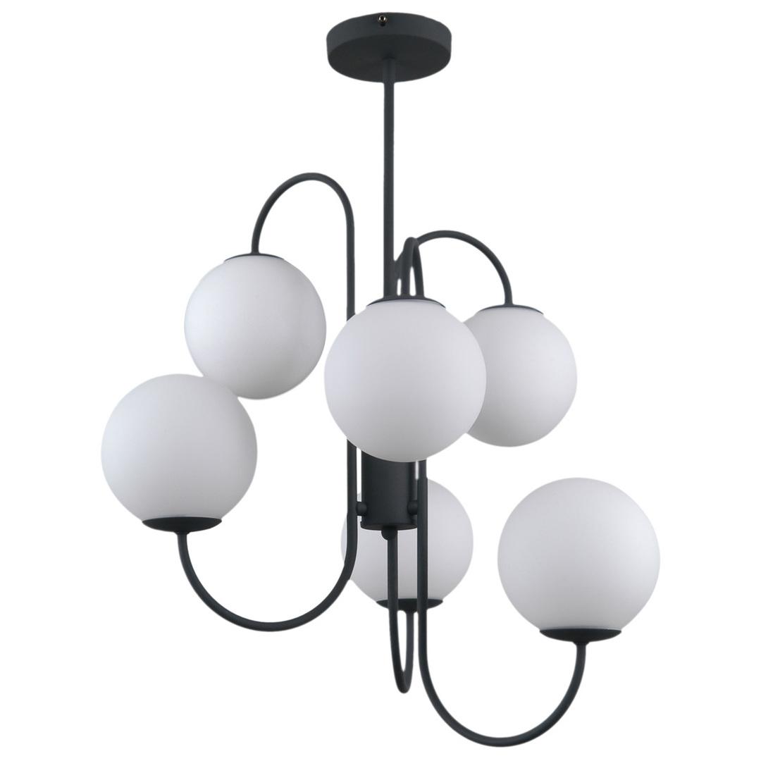 Černá závěsná lampa Gela G9, 6 žárovek