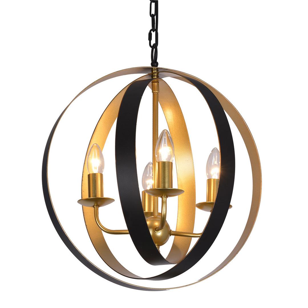 Černá závěsná lampa Kaia E14, 4 žárovky