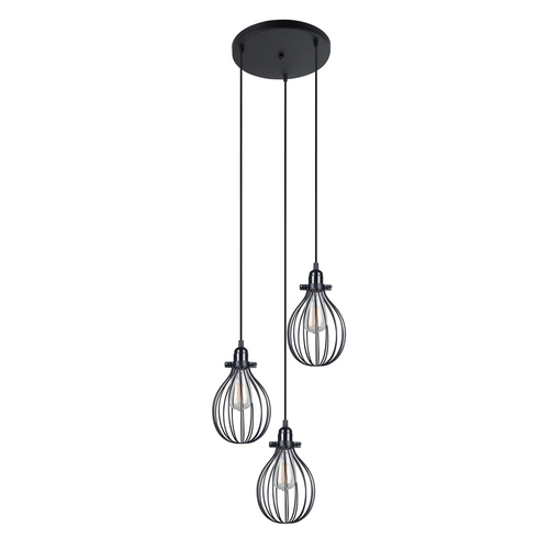 Černá závěsná lampa Lesto E27, 3 žárovky