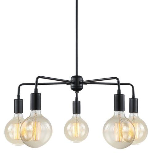 Černá závěsná lampa Malene E27 s 5 žárovkami