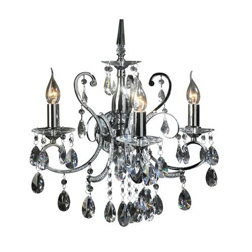 Klasická nástěnná lampa s 3bodovými krystaly Barocco Chrome E14