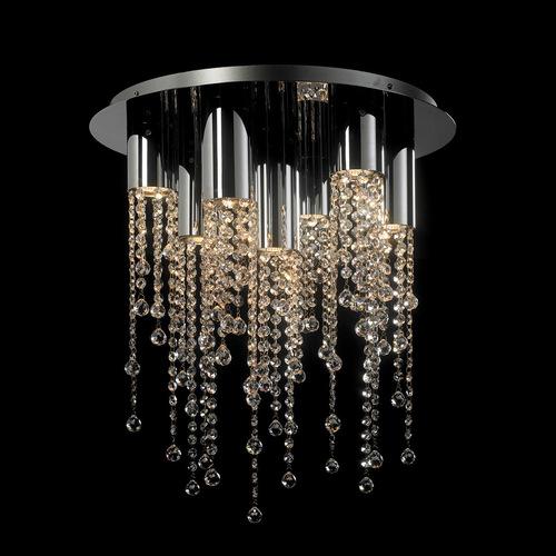 Klasická 7bodová stropní lampa Larix GU10 Crystals