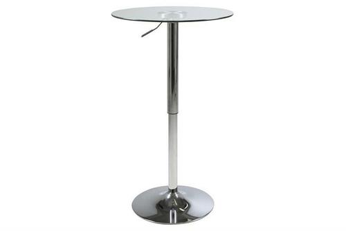 ACTONA barový stůl NIDO GLASS - výškově nastavitelný, skleněný, chrom