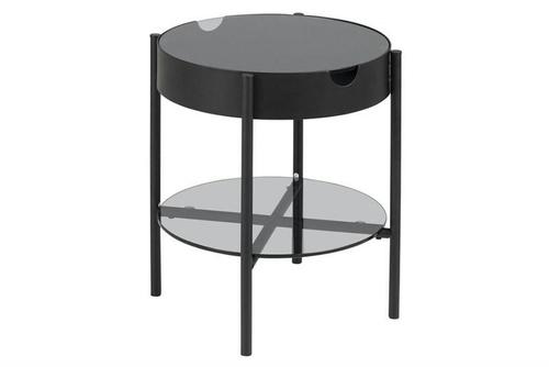 ACTONA skleněný stůl TIPTON černý - sklo, kov