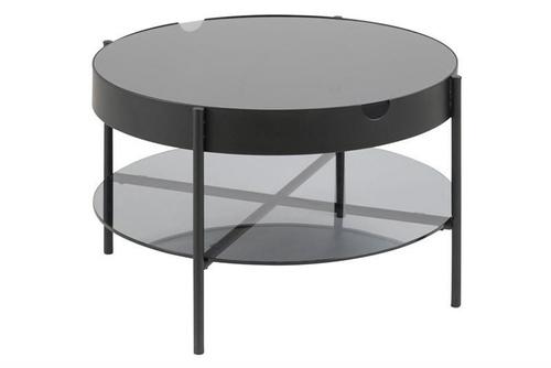 ACTONA skleněný stůl TIPTON L černý - sklo, kov
