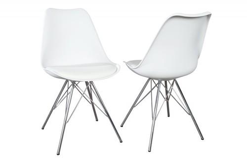 Židle INVICTA HUGO bílá - chromový podstavec