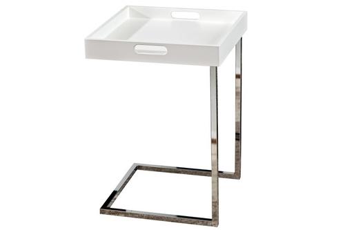 Stůl INVICTA CIANO bílý - odnímatelná deska, chrom