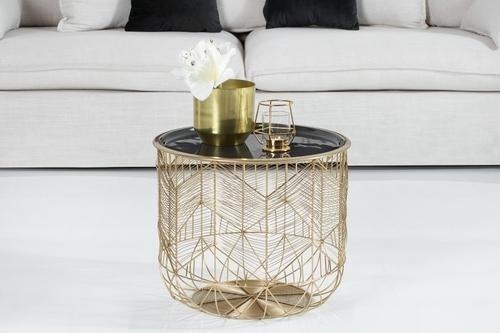 Stůl INVICTA SKLADOVÁNÍ 42 zlatý, šedý podnos - s úložným prostorem