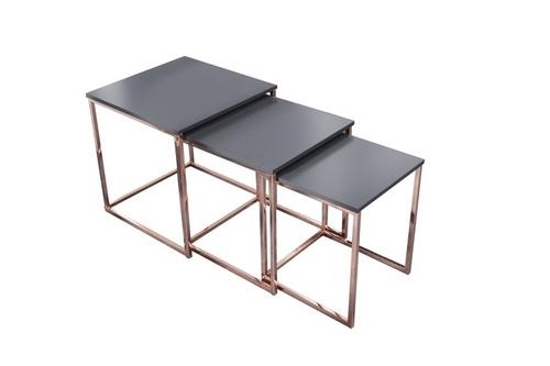 Sada stolů TRIO SLIM z mědi - měděná základna