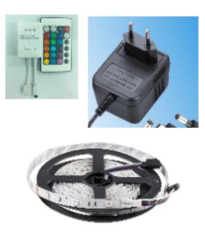 LED pás 24 W 5m IP 20 RGB + dálkové ovládání + ovladač + napájení